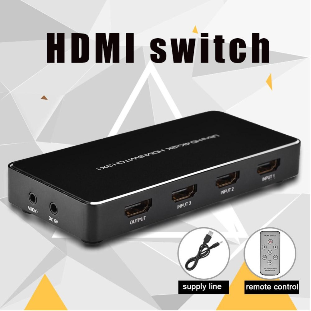 3 In One Out Audio Video Signal Av Rca Switch Switcher Selector Box 2 Way 1 Hdmi Splitter 3x1 Support4k
