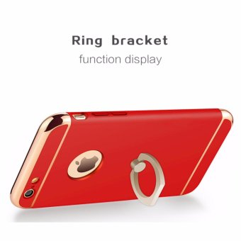 3 in 1 Ultra Slim Metal Hybrid Anti-skidding Hard PC Back CaseCover With Ring Kickstand for Apple iPhone 6/6S(Red) - intl - 3