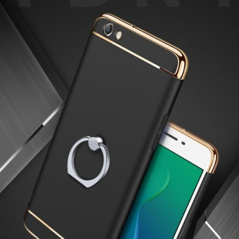 3 in 1 Ultra thin PC with Metal Ring hard cover case phone case forOppo F3 Plus(Black) - intl - 3