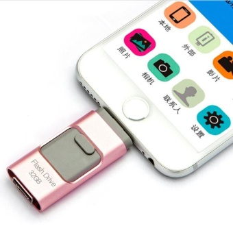 3 in 1 USB Flash Drive 64GB USB 3.0 Pen Drive Memory Stick StorageDevice U Disk For iphone 5/6/6s/7/7s Android Mobile Phone +Free 2in 1 phone fan(rose gold) - intl - 2