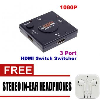 3 Port Mini Switcher HD Video HDMI Switch Splitter for HDTV PS31080P with free Stereo In-Ear Headphone (White)