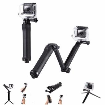 3-Way Bracket Hand Grip Pole Tripod Handheld Stable AdjustableMonopod Extendable Folding for Xiaoyi Go pro 5 4 3 SJCAM SJ4000gopro5 Action Sport Camera Accessories