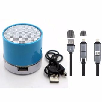3009 Mini Portable Bluetooth Speaker (Blue) with 2 in 1 USB CORDColor May Vary
