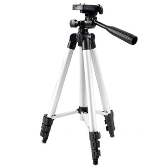 3110 Portable Camera Tripod With Three-Dimensional Head &Carrying Bag For Canon Nikon Sony Cameras Camcorders(Silver) withFree Samsung In-Ear Earphones EO-IG955 For Samsung S8 / S8+ /Smartphone made in AKG (Black)