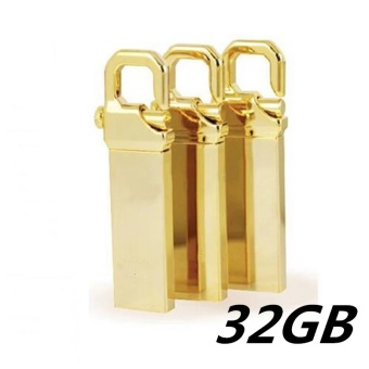 32GB USB 3.0 Hot Sale Waterproof Usb Flash Drive Mini Metal Pen Drive Metal usb Flash Memory Stick-gold - intl