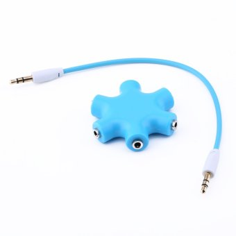 3.5mm Earphone Headphone Audio Splitter 6 Female Audio Ports (Blue) Price Philippines