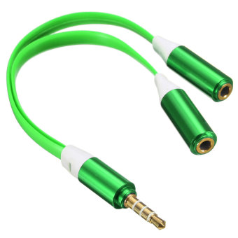 3.5mm Male to 2 Dual Female Jack Splitter Headphone Y Audio Adapter Mp3 Cable (Light Green) - Intl