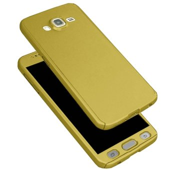 360 Degree Full Body Armor Case for Samsung Galaxy J2 Prime withFree Tempered Glass (Gold)