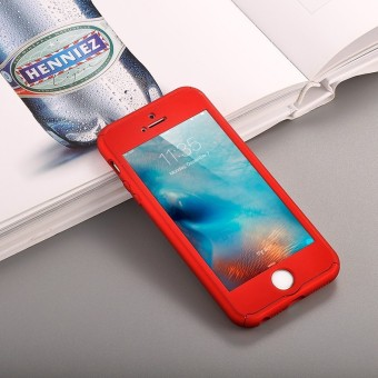 ... 360 Degree Full Body Protect Hard Slim Case Cover with TemperedGlass for iPhone 5/5S