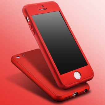 360 Degree Full Body Protect Hard Slim Case Cover with TemperedGlass for iPhone 5/5S/5SE (Red) - intl