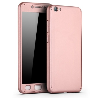 360 Degree Full Body Protective Case Frosted Matte 3 in 1 Front +Back Cover for VIVO V5 Lite / Y66 with Tempered Glass - intl