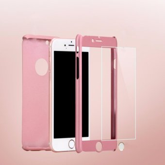 360 Degree PC Hard Phone Case Front and Back Full Cover withTempered Film Glass Screen Protector for Apple iPhone 6 Plus /6sPlus 5.5 inch(Rose Gold) - intl