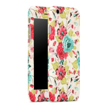 360 Degree Protective All-around Slim Beautiful Flower Design FitCase Cover Skin with Tempered Glass Screen Protector for iPhone 6Plus / 6s Plus (Multicolor) - intl