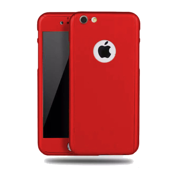 360 Degrees Full Protection Slim PC Case Cover with Tempered Glass For Apple iPhone 6 Plus / 6s Plus (Red)