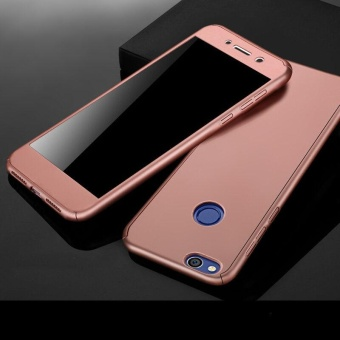 360 Full Body Coverage Protection Hard Slim Ultra-thin Hybrid Case Cover & Skin with Tempered Glass Screen Protector for Huawei P8 Lite 2017 (Rose Gold) - intl