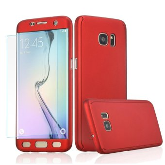 360 Full Body Coverage Protection Hard Slim Ultra-thin Hybrid Case Cover with Tempered Glass Screen Protector for Samsung Galaxy S5 (Red) - intl