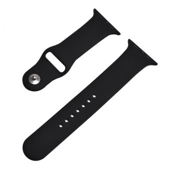 38mm S/M 1:1 Size Strap Silicone Bands Original Rubber Watchband For Apple Watch - Black - intl