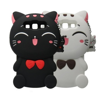 3D Cute Lucky Cat Smiling Fortune Cat Soft Silicon Back Cover CaseFor Samsung Galaxy J7(2016) / J710 - intl - 3