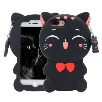 3D Lucky Fortune black Cat with Cute Bow Tie Silicone Rubber Phone Case Cover for Apple iPhone 5/5S/SE - intl