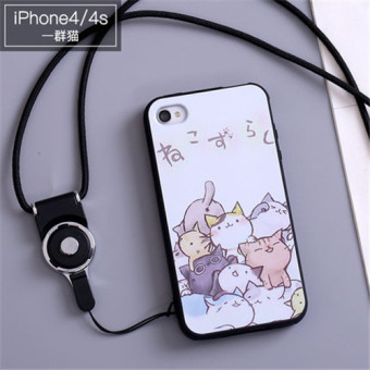 3D Relief Silica Gel Soft Phone Case for iPhone 4/iPhone 4s with a Rope