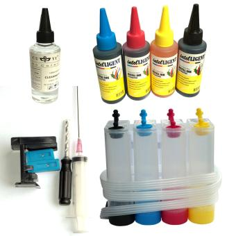 4 in 1 CISS Kit InkTank, Suction Tool, 100ml Cleaning solution, 100ml dye ink CMYK