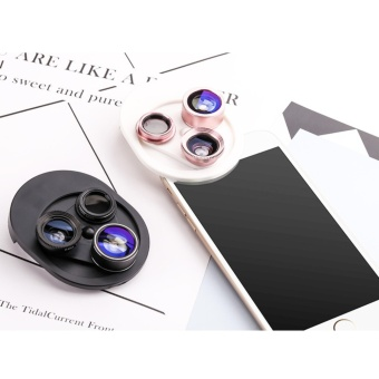 4 in 1 Universal 198?Fisheye Lens & 15XMacro Lens & 0.63XSuper Wide Angle Lens, Clip on Cell Phone Lens Camera Lens Kits foriPhone & Most Smartphones - intl - 2