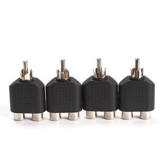 4-Piece RCA AV Audio Splitter Adapter 1 Male to 2 Female ConverterConnector