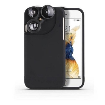 4in1 Camera Lens Kit Fisheye+Macro+Wide Angle+Zoom Phone Case For iPhone 6 6s Plus 7 7 Plus,Black -For iphone 7 - intl