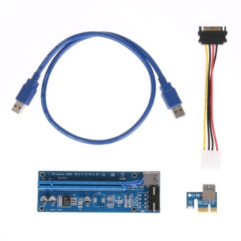 4Pin PCI-E 1X to 16X USB3.0 BTC Mining Extender Graphic Card Adapter Cable - intl