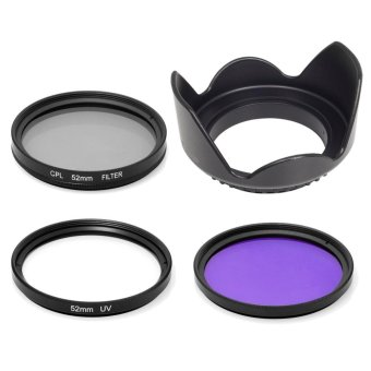 52mm Lens Hood + UV CPL FLD Filter Set for Nikon D5300 D3300 D3200 D3100