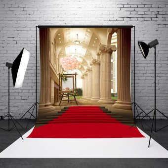 5x7ft European Palace Red Carpet Wedding Photography Background Studio Backdrop - 4