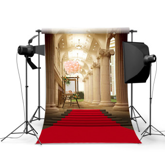 5x7ft European Palace Red Carpet Wedding Photography Background Studio Backdrop - 3