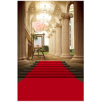 5x7ft European Palace Red Carpet Wedding Photography Background Studio Backdrop