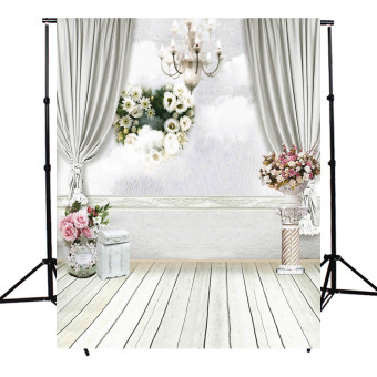 5x7FT Wedding Photography Backdrop Flower Wooden Floor Background Photo Studio
