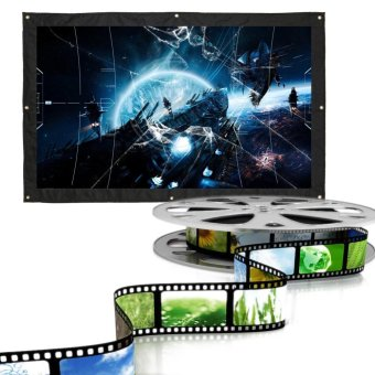 60 Inch 16:9 Indoor Outdoor Movie Projection Screen Theater FilmCurtain Projector- Matte White - intl