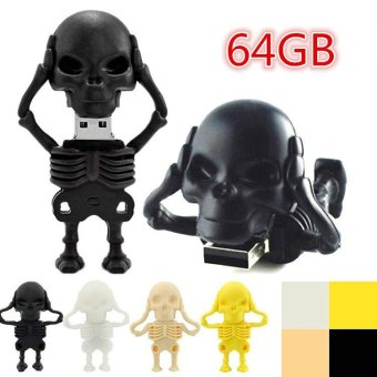 64GB NEW Super Mini Tiny Skull Pen Drive Usb 2.0 Fashion MemoryStick 64GB Usb Flash Drive Cheap U Disk for Gift - black - intl