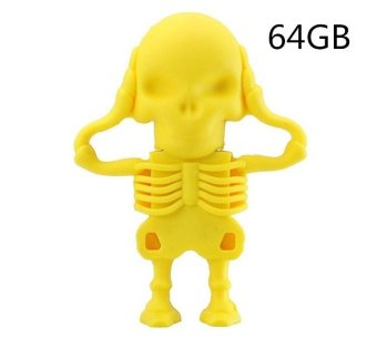 64GB NEW Super Mini Tiny Skull Pen Drive Usb 2.0 Fashion MemoryStick 64GB Usb Flash Drive Cheap U Disk for Gift - yellow - intl