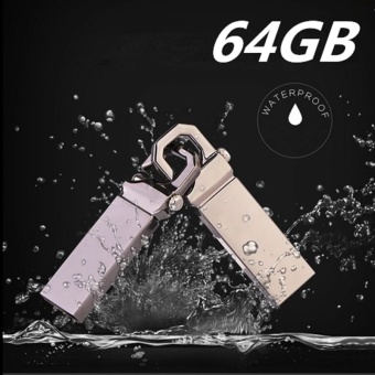 64GB USB 3.0 Hot Sale Waterproof Usb Flash Drive Mini Metal Pen Drive Metal usb Flash Memory Stick-silver - intl