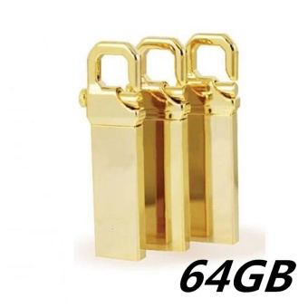 64GB USB 3.0 Hot Sale Waterproof Usb Flash Drive Mini Metal PenDrive Metal usb Flash Memory Stick-gold - intl