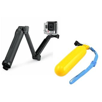 6cm Super Multi-function 3-way Mount Monopod Tripod Grip for GoPro Hero4 /Hero3 + /3 /SJ 5000/4000 With GP81 Floater and Bobber for GoPro Hero SJCAM (Yellow)