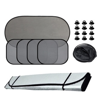 6Pcs Car Windows Sun Shade Vehicle Front Rear Side Window Sunshade Windshields Visor Sun Screen UV Protector Windscreen Cover with 12Pcs Suction Cup - intl
