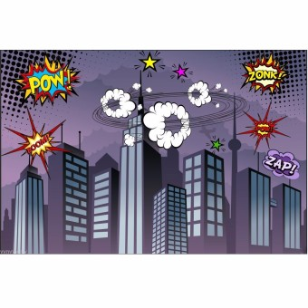 7x5FT Vinyl Superhero City Theme Photography Studio Props Backdrop Background