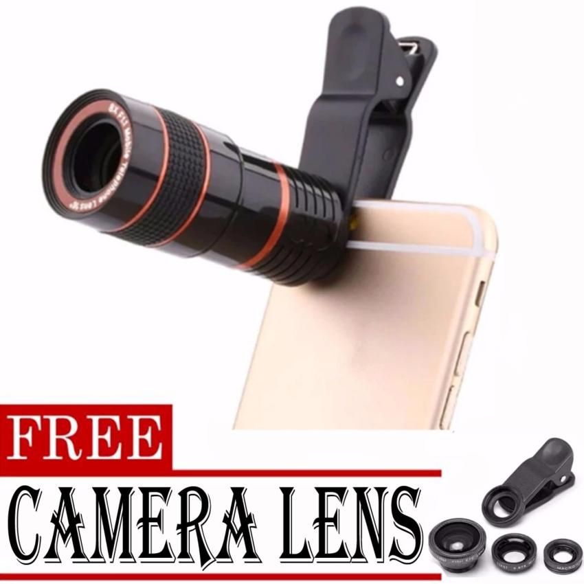 8x Zoom Universal Telescope Clip Lens for Smartphone (Black)withFREE Camera Lens (Black)