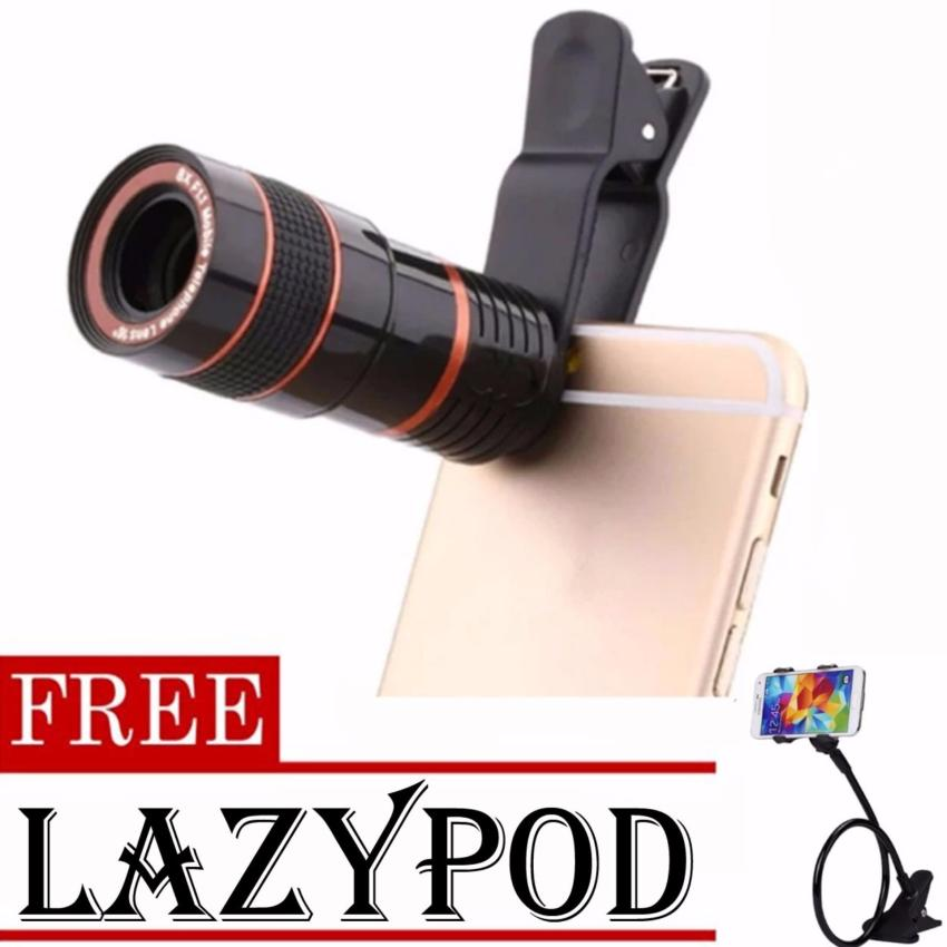 8x Zoom Universal Telescope Clip Lens for Smartphone (Black)withFREE Lazypod (color may vary))