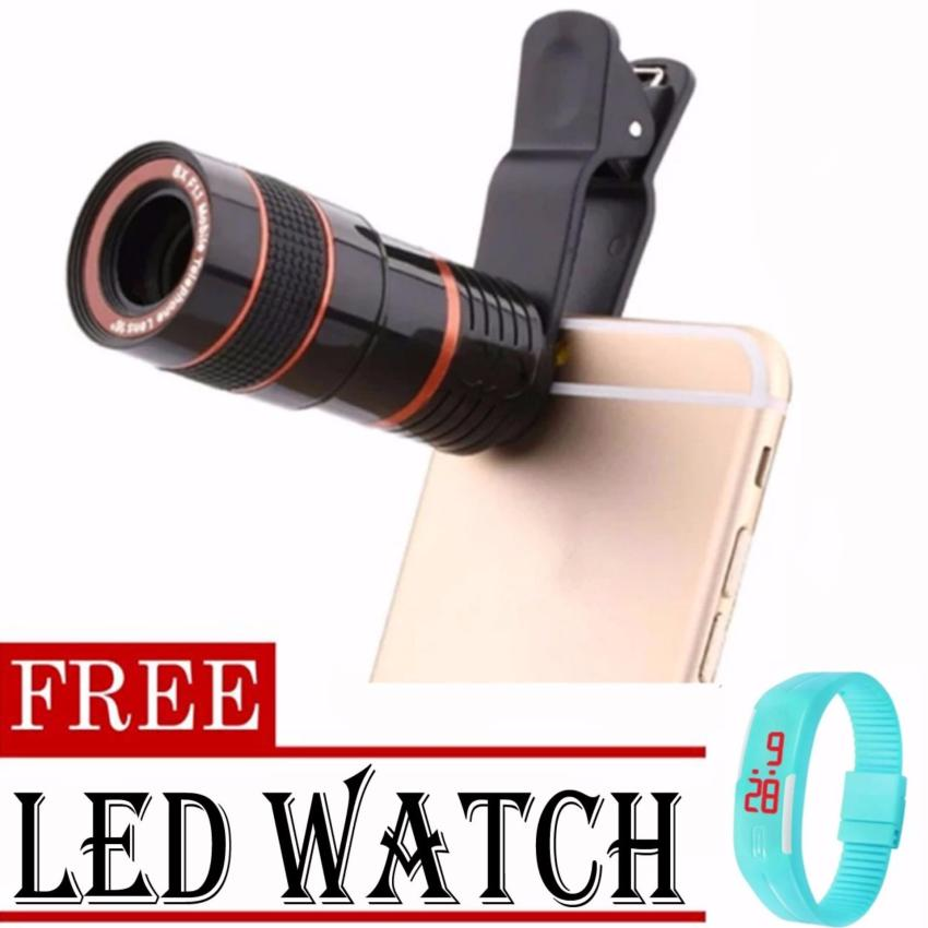 8x Zoom Universal Telescope Clip Lens for Smartphone (Black)withFREE LED Watch (color may vary)