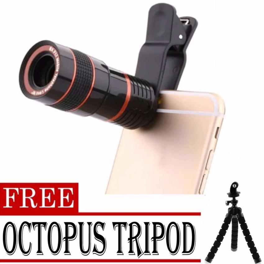 8x Zoom Universal Telescope Clip Lens for Smartphone (Black)withFREE Octopus Tripod (Black)