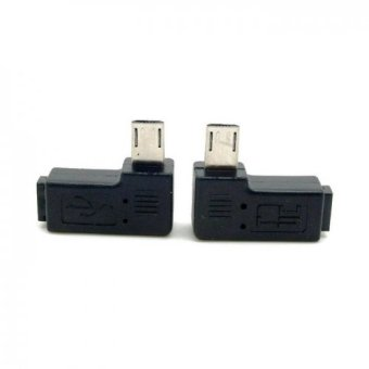 9mm Long Connector 90 Degree Left and Right Angled Micro USB 2.05Pin Male to Female Extension Adapter (Intl)
