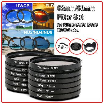 9pcs Filters Set + Lens Hood + Camera Cap 52mm for Nikon D7100 D5200 D3200