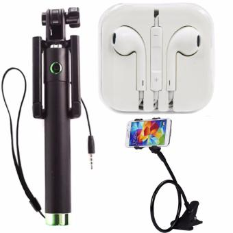 A-01 Foldable Selfie Stick Monopod With Remote Shutter (Green)WithHeadset (White) and 360 Rotating Flexible LazyPod Universal MobilePhone Holder (Color May Vary)