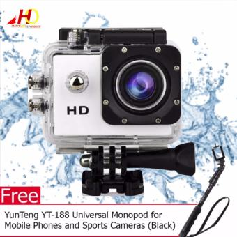 A7 Ultimate Sports Action Cam Under Water Extreme (White) with FREEYunTeng YT-188 Universal Monopod for Mobile Phones and SportsCameras (Black)